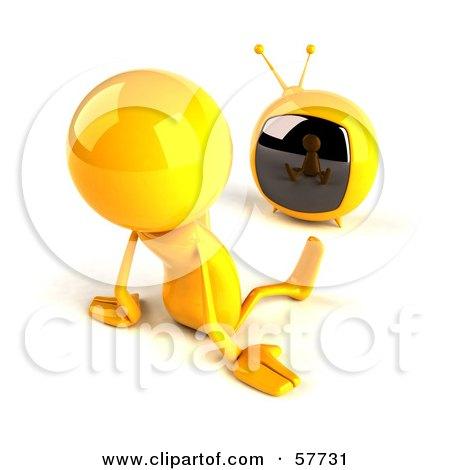 3d Yellow Bob Character Watching Television - Version 2 Posters, Art Prints
