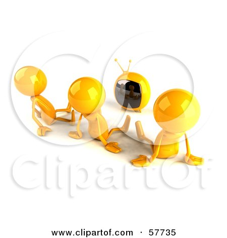 3d Yellow Bob Characters Watching Tv - Version 2 Posters, Art Prints