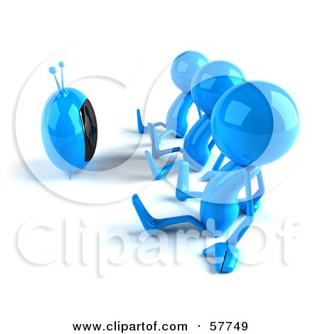 3d Blue Bob Characters Watching Television - Version 1 Posters, Art Prints