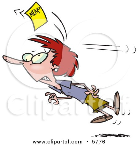 Woman Chasing a Yellow Memo Slip Clipart Illustration by toonaday