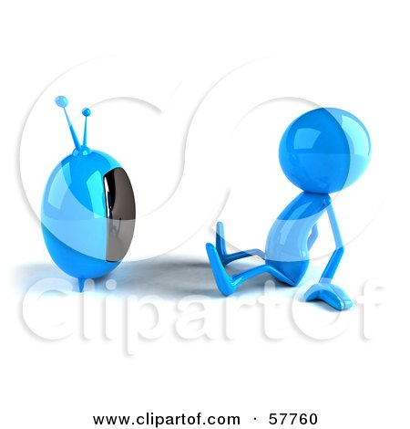 3d Blue Bob Character Watching Television - Version 1 Posters, Art Prints