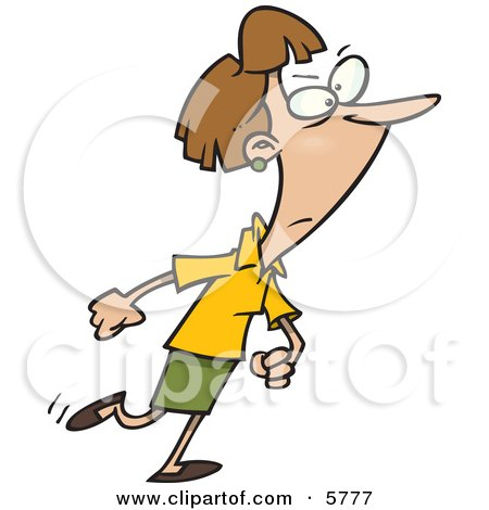 Woman Walking With A Determined Expression Clipart Illustration