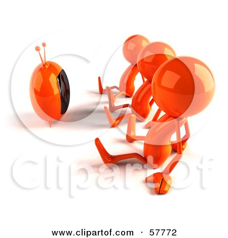 3d Orange Bob Characters Watching TV Posters, Art Prints