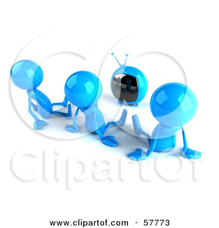 3d Blue Bob Characters Watching Television - Version 2 Posters, Art Prints