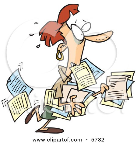 Stressed Business Woman Carrying and Dropping Documents Clipart Illustration by toonaday