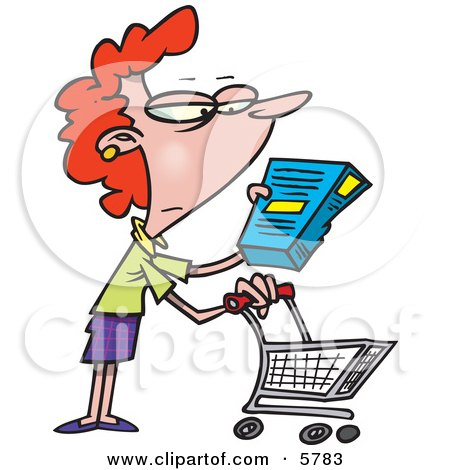 Woman in a Grocery Store Readint the Nutrition Label on a Box of Food Clipart Illustration by toonaday