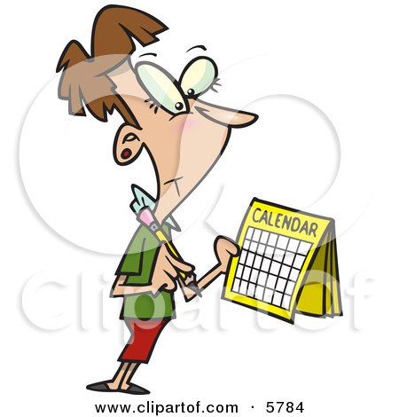 Brunette Woman Marking a Day on Her Calendar Clipart Illustration by toonaday