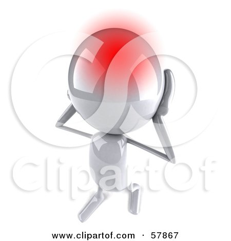 Royalty-Free (RF) Clipart Illustration of a 3d White Bob Character With A Migraine by Julos