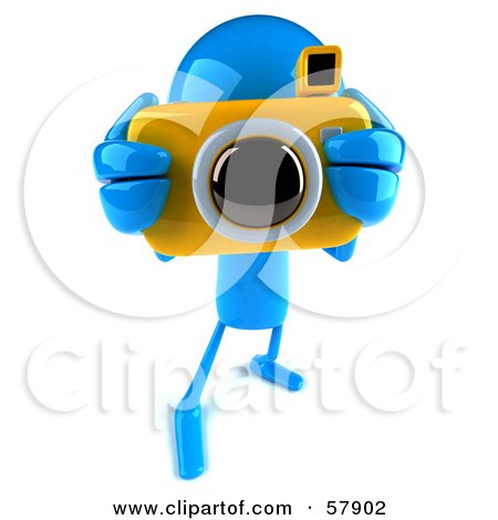 3d Blue Bob Character Taking Pictures With A Camera - Version 2 Posters, Art Prints