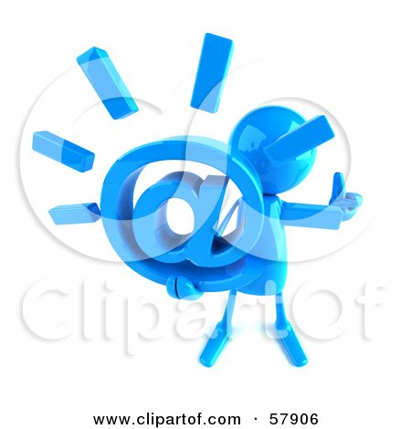 Royalty-Free (RF) Clipart Illustration of a 3d Blue Bob Character Holding An At Symbol - Version 3 by Julos