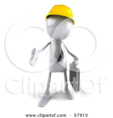 Royalty-Free (RF) Clipart Illustration of a 3d White Bob Contractor Character Reaching Out To Shake Hands - Version 1 by Julos