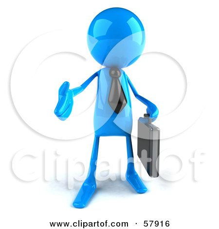 Royalty-Free (RF) Clipart Illustration of a 3d Blue Bob Character Carrying A Briefcase And Reaching Out To Shake Hands - Version 1 by Julos