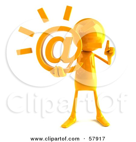 Royalty-Free (RF) Clipart Illustration of a 3d Yellow Bob Character Holding An At Symbol - Version 1 by Julos