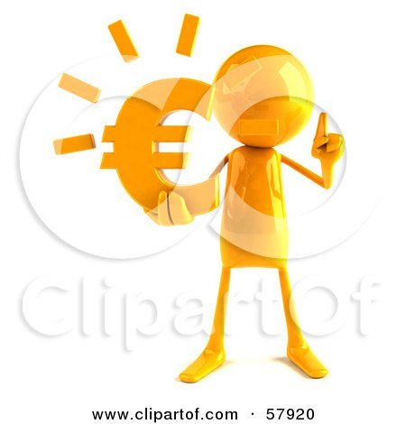 Royalty-Free (RF) Clipart Illustration of a 3d Yellow Bob Character Holding A Euro Symbol - Version 1 by Julos