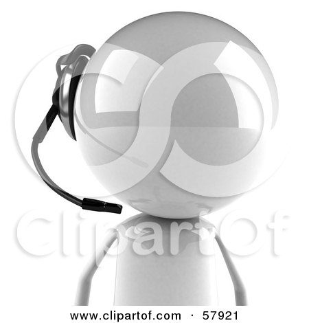 Royalty-Free (RF) Clipart Illustration of a 3d White Bob Character Wearing A Headset - Version 3 by Julos