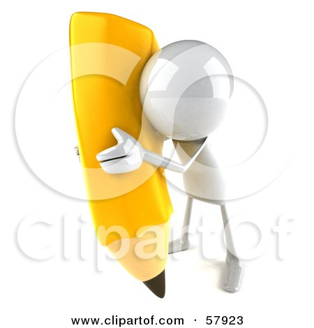 3d White Bob Character Holding A Large Pencil - Version 6 Posters, Art Prints