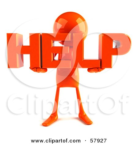 Royalty-Free (RF) Clipart Illustration of a 3d Orange Bob Character Holding HELP by Julos