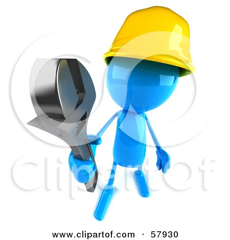 Royalty-Free (RF) Clipart Illustration of a 3d Blue Bob Builder Character Holding A Wrench - Version 3 by Julos
