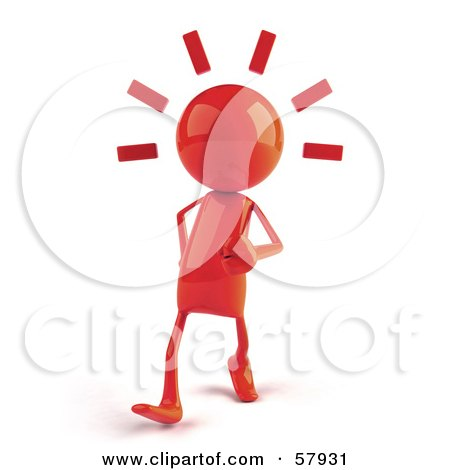 Royalty-Free (RF) Clipart Illustration of a 3d Red Bob Character Walking by Julos