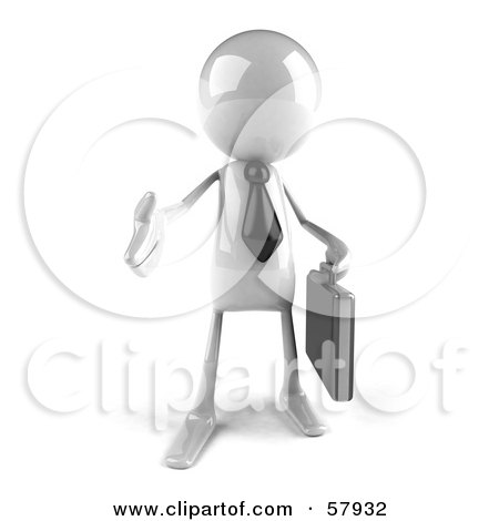 Royalty-Free (RF) Clipart Illustration of a 3d White Bob Character Businessman Reaching Out To Shake Hands - Version 1 by Julos