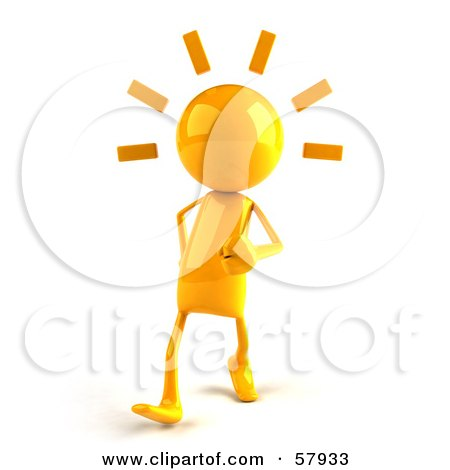 Royalty-Free (RF) Clipart Illustration of a 3d Yellow Bob Character Walking by Julos