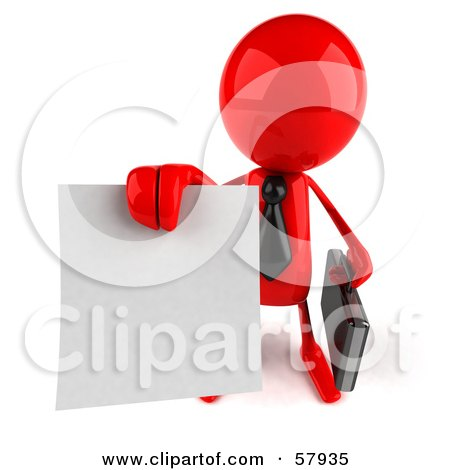Royalty-Free (RF) Clipart Illustration of a 3d Red Bob Character Holding Out A Contract - Version 3 by Julos