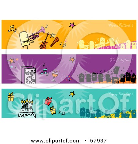 Royalty-Free (RF) Clipart Illustration of a Digital Collage Of Party People Banners by NL shop