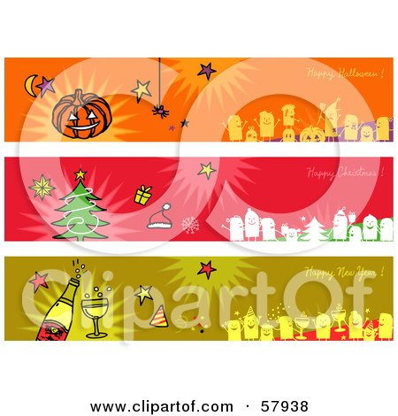 Royalty-Free (RF) Clipart Illustration of a Digital Collage Of Happy Halloween, Happy Christmas And Happy New Year Greeting Banners by NL shop