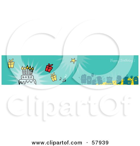 Royalty-Free (RF) Clipart Illustration of a Green Happy Birthday Party People Banner by NL shop