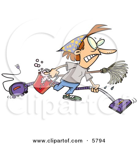 Woman Wearing Herself Out While Doing Spring Cleaning Clipart Illustration by Ron Leishman
