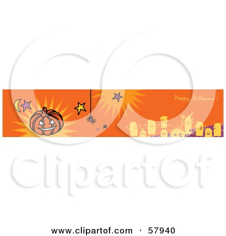 Royalty-Free (RF) Clipart Illustration of an Orange Happy Halloween Greeting Banner With Party People, Stars, Spider And Pumpkin. by NL shop