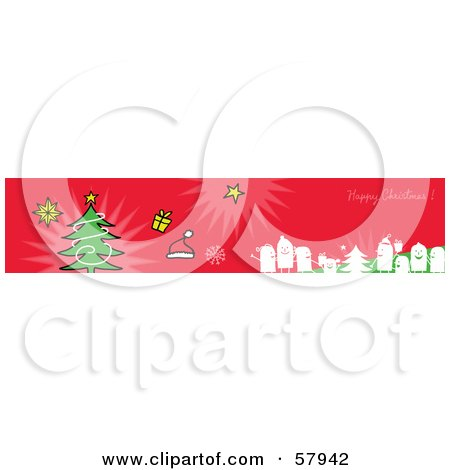 Royalty-Free (RF) Clipart Illustration of a Red Happy Christmas Greeting Banner With Party People, Gifts And A Tree by NL shop