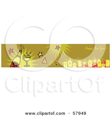 Royalty-Free (RF) Clipart Illustration of a Green Happy New Year Greeting Banner With Party People And Champagne by NL shop