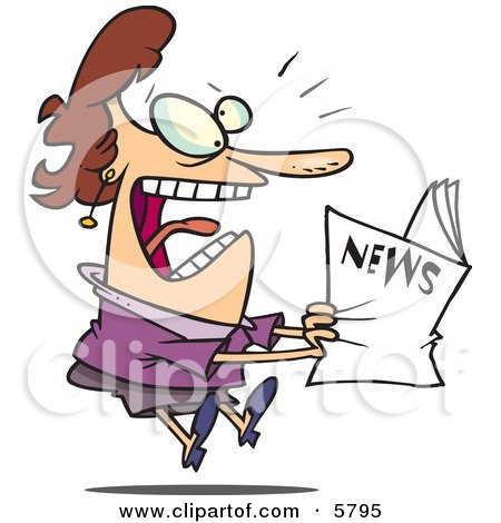 Paranoid Woman Reading the News Clipart Illustration by toonaday