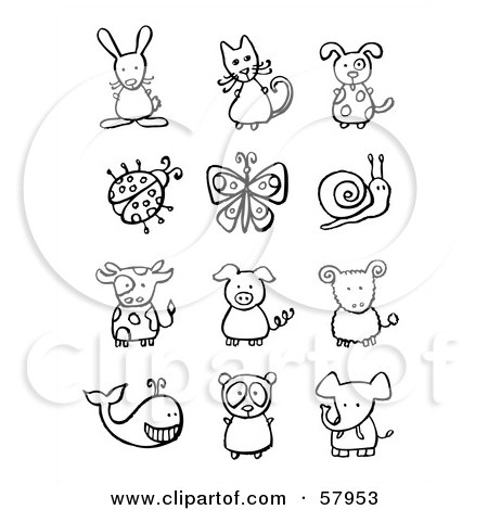 Royalty-Free (RF) Clipart Illustration of a Digital Collage Of Black And White Animals And Bugs by NL shop