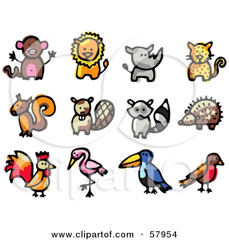 Royalty-Free (RF) Clipart Illustration of a Digital Collage Of Animals; Monkey, Lion, Rhino, Cheetah, Squirrel, Beaver, Raccoon, Hedgehog, Rooster, Flamingo, Toucan, Robin by NL shop
