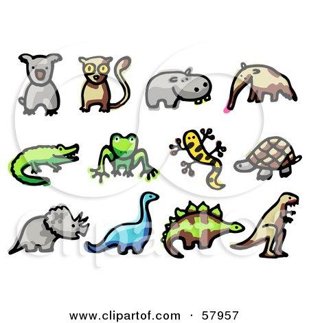 Royalty-Free (RF) Clipart Illustration of a Digital Collage Of Animals; Koala, Lemur, Hippo, Anteater, Crocodile, Frog, Salamander, Tortoise, Triceratops, Brontosaurus, Stegosaur, And Tyrannosaurus Rex by NL shop
