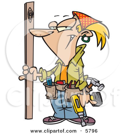 Blond Caucasian Handy Woman Doing Repairs on a Building Posters, Art Prints