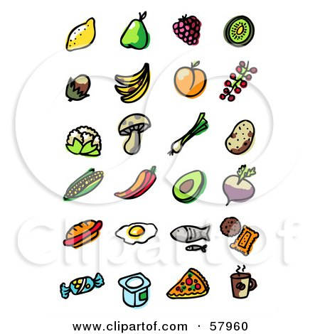 Royalty-Free (RF) Clipart Illustration of a Digital Collage Of Fruit, Veggies, Fast Food And Drinks by NL shop
