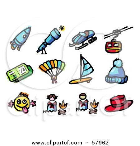 Royalty-Free (RF) Clipart Illustration of a Digital Collage Of A Rocket, Telescope, Snowmobile, Cable Car, Ticket, Parachuting, Wind Surfing, Hat, Funny Face, Campfire, Hat by NL shop