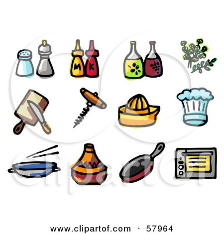 Digital Collage Of Kitchen Items; Seasonings, Condiments, Oil, Herbs, Tools, Hats, Pans And Oven Posters, Art Prints