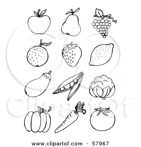 of a Digital Collage Of Back And White Fruit And Veggies; Apple, Pear ...