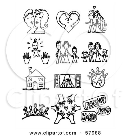 Royalty-Free (RF) Clipart Illustration of a Digital Collage Of Black And White Couples, Families, A Home And Friends by NL shop