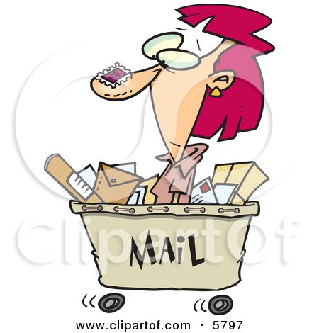 Woman in a Mail Cart, Stamped With Postage Clipart Illustration by toonaday