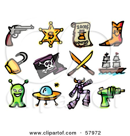Royalty-Free (RF) Clipart Illustration of a Digital Collage Of Adventure Icons; Pistil, Sheriff Badge, Wanted, Boots, Hook, Pirate Flag, Swords, Ship, Alien, Ufo, Robot And Ray Gun by NL shop