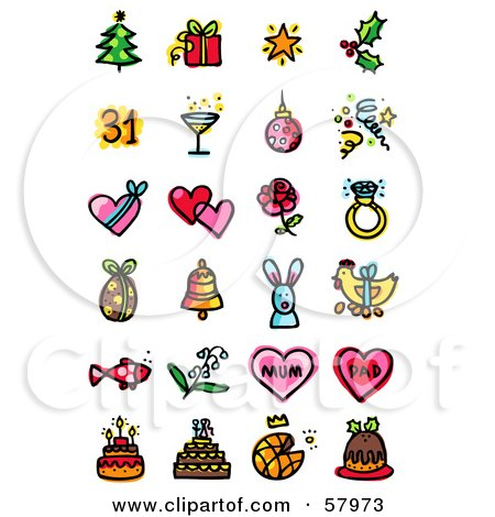 Royalty-Free (RF) Clipart Illustration of a Digital Collage Of Holiday Icons; Christmas, New Year, Valentines Day, Easter, Fathers Day, Mothers Day And Birthdays by NL shop
