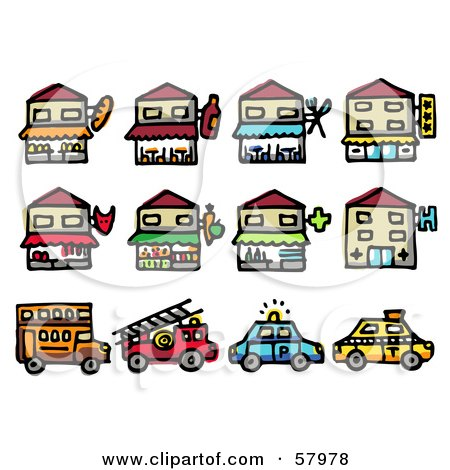 Royalty-Free (RF) Clipart Illustration of a Digital Collage Of Storefronts And Vehicles by NL shop