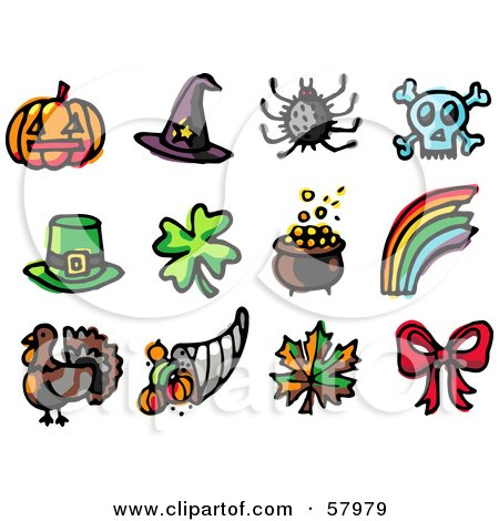 Royalty-Free (RF) Clipart Illustration of a Digital Collage Of Holiday Icons; Pumpkin, Witch Hat, Spider, Skull, Leprechaun Hat, Clover, Pot Of Gold, Rainbow, Turkey, Horn Of Plenty, Autumn Leaf And Bow by NL shop