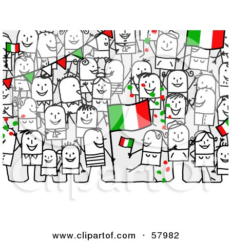 Royalty-Free (RF) Clipart Illustration of a Crowd Of Stick People Characters With An Italy Flag by NL shop