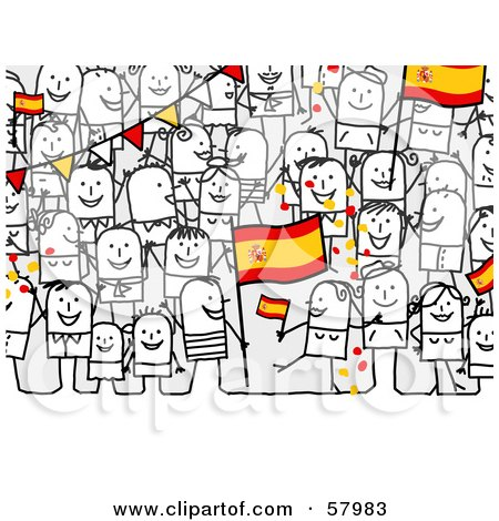 Royalty-Free (RF) Clipart Illustration of a Crowd Of Stick People Characters With A Spain Flag by NL shop